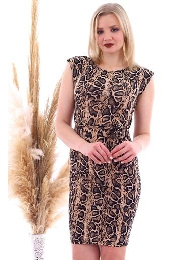 Cottonmood 20070783 Örme Krep Beli Kuşaklı Omuzu Vatkalı Elbise Vizon Yilan Vizon